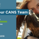 Headline reads Meet Your CANS Team. Lynda Sellon - Administrative Coordinator. Start date: July 2018. Photo is a selfie of Lynda with one of her dogs.