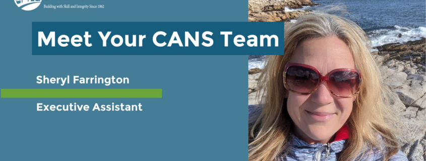 Headline reads Meet Your CANS Team. Sheryl Farrington - Executive Assistant. Start date: August 2016. Photo is a selfie of Sheryl in sunglasses hiking a rocky coastline.