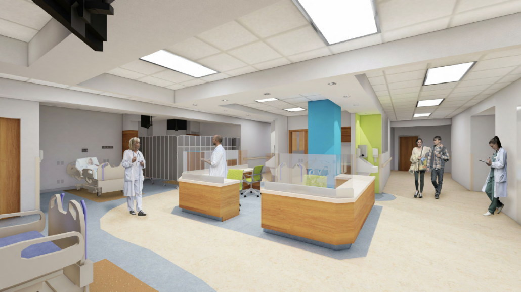 A rendering of the upgrades to the renal dialysis unit depicting a nursing station and patient beds, with doctors, nurses and visitors comfortably using the space.