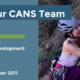 Headline reads Meet Your CANS Team. Melody Hillman – Director, Member Engagement & Development. Start date: October 2011. Photo is of Melody outfitted in rock climbing gear, smiling as she pulls herself up a rock face.