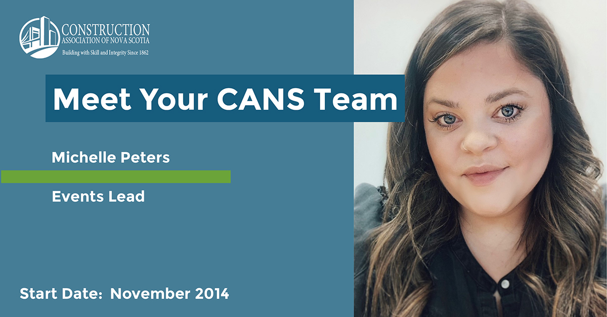 Headline reads Meet Your CANS Team. Michelle Peters - Events Lead. Start date: November 2014. Photo is a selfie of Michelle smiling.