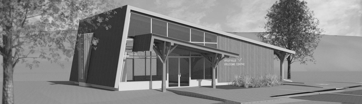 image depicts a rendering of the upcoming Town of Wolfville's visitor information centre project