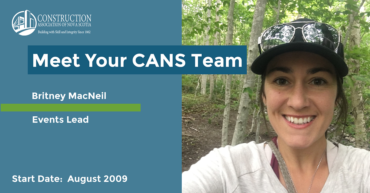 Graphic introduces Britney MacNeil, CANS Events Lead. Photo is a selfie taken by Britney. She is smiling in the woods.